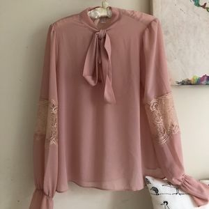 Forever 21 Tie Neck Lace Panel Sheer Top